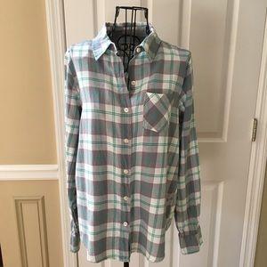 i Love H81 Plaid Flannel Grey Medium Shirt